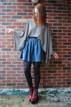 tan poncho tresics top - crimson Jeffrey Campbell boots - black H&M tights