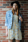 Platform-thrifted-shoes-floral-thrifted-dress-bowler-h-m-hat