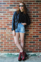 brick red platform Jeffrey Campbell boots - black faux leather gift jacket
