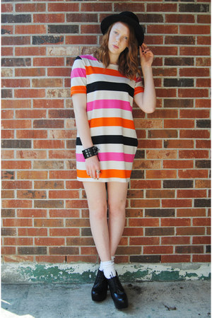 black bowler H&M hat - orange color block H&M dress - black studded bracelet