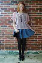 sky blue thrift skirt - black oxford thrift shoes - black H&M tights