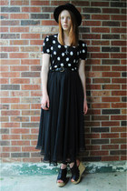black bowler H&M hat - black maxi thrifted skirt - black floral thrifted top