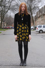 Black-thrifted-boots-yellow-sunflower-thrifted-dress-black-h-m-tights