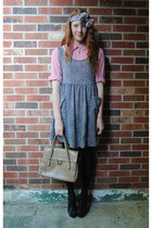 black jumper thrift dress - dark gray Joe Fresh tights