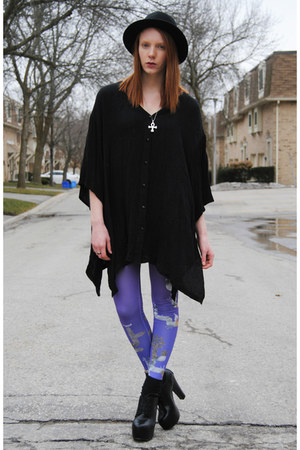 purple leggings - black asymmetrical thrifted dress - black bowler H&amp;M hat