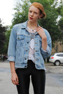 Sky-blue-denim-thrifted-jacket-brown-creepers-shoes