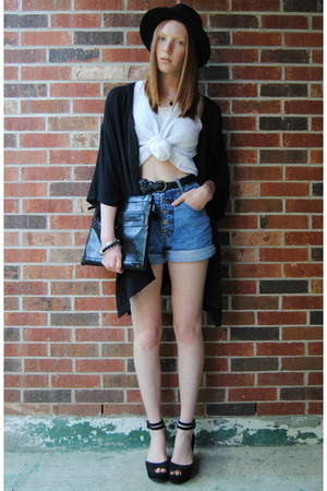 black bowler H&amp;M hat - black clutch bag - sky blue denim thrifted shorts