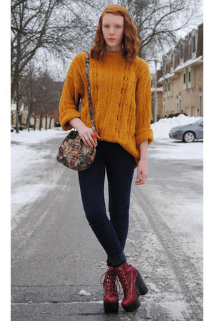 mustard thrifted sweater - brick red platform Jeffrey Campbell boots