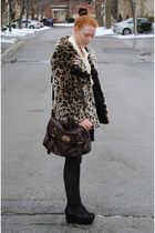 brown faux fur Guess coat - dark brown satchel NYC bag