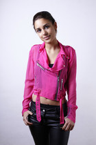 Biker Girl Jacket in Hot Pink Chiffon