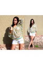 floral vintage blouse - denim shorts Gap shorts - gold Prada heels