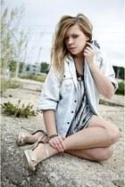 silver Cubus top - light blue DIY shirt - beige new look heels