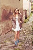off white Zara dress - tan Vero Moda coat