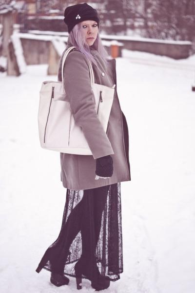 black Stradivarius skirt - silver NN coat