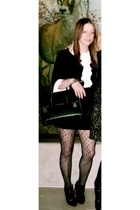 dress - Wolford tights - YSL boots - Hermes purse