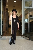 Ruth Dewson hat - Comme des Garcons tao dress - Jill Sander boots - Wolford tigh