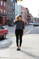 silver Bauble Bar necklace - black BDG jeans - forest green Seychelles pumps