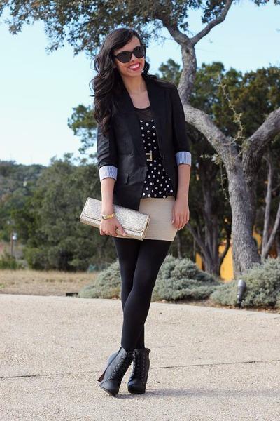 black GoJane boots - black Forever 21 blazer - black Target sunglasses