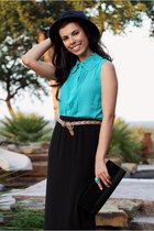 turquoise blue Forever 21 top - camel Forever 21 belt - black Target skirt