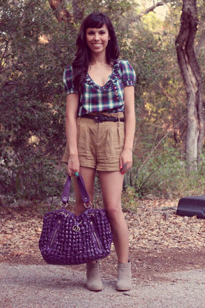 heather gray Target boots - purple francescas bag - camel Forever 21 shorts