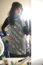 silver thrifted dress - black Mossimio shirt - black vera wang tights