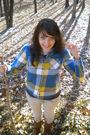 Blue-american-eagle-shirt-gray-dots-shirt-gray-bullhead-jeans-brown-ross-b