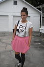 White-forever-21-shirt-pink-zara-skirt-gray-target-socks-black-candies-sho