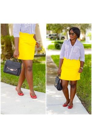 red shoes - Express shirt - yellow J Crew skirt