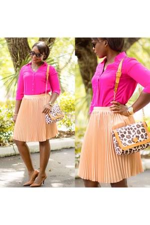 hot pink Express shirt - peach JCrew skirt
