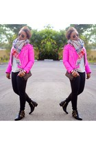 hot pink Gap jacket - black Vince Camuto boots - black Express jeans