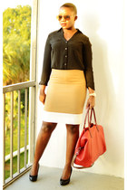 JCrew skirt - Cole Haan bag - Ralph Lauren pumps - Express top
