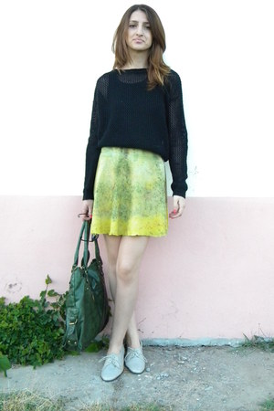 lime green handmade skirt - black Zara blouse