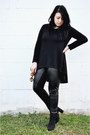 Black-leather-asos-pants-black-forever-21-sweater