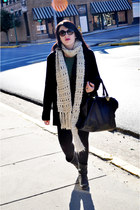 black thrifted boots - dark green Forever 21 shirt - ivory Forever 21 scarf