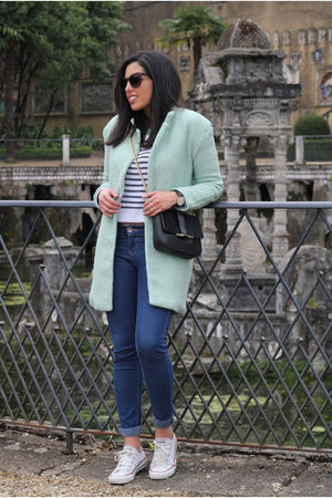 aquamarine Sheinside coat - black Zara bag - off white Converse sneakers