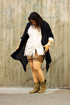 white Tofebruary top - olive green boots - black Charlotte Russe jacket