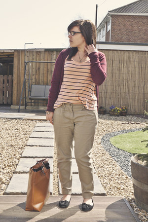 brick red Primark cardigan - tawny Ebay bag - light pink River Island vest