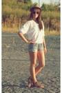 Dark-khaki-hat-white-shirt-sky-blue-shorts-brown-sandals