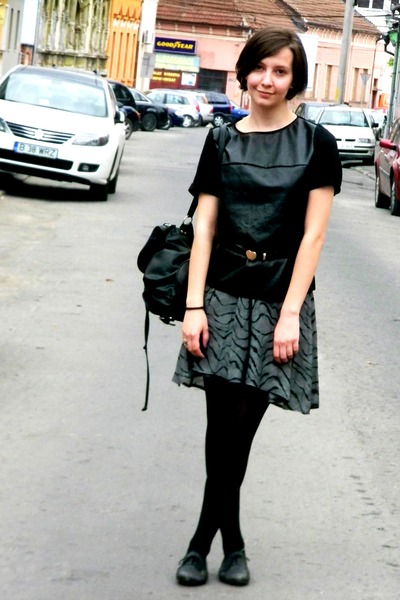 black backpack new yoerker bag - black faux leather Zara top