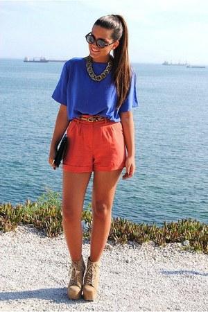 beige zara shoes - carrot orange zara skirt - blue hm blouse