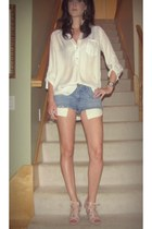 blue Gap shorts - white Forever 21 blouse - light pink lovely people wedges