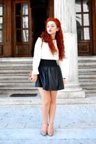 black Zara skirt - camel Valentino shoes - camel Zara bag - white Zara blouse