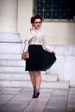 Zara blouse - asos flats - vintage skirt - firmoo glasses