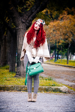 green OASAP bag - tan Zara boots - camel H&M leggings - beige benetton cape