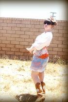 white Mermaid dress - brown Oak Tree Farms boots - brown sunglasses