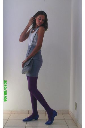 silver c&a top - gray Riachuelo skirt - purple tights - blue Melissa shoes - gra