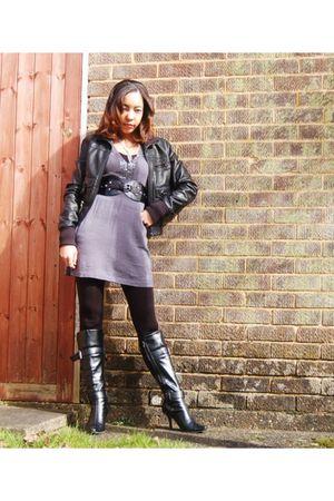black Chinese Laundry boots - gray dress - black Primark tights - black belt - b