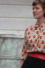Beige-vintage-blouse-red-thrifted-belt-black-gap-skirt-black-modcloth-tigh