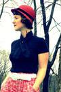 Red-cloche-vintage-hat-black-vintage-scarf-white-target-belt-black-merona-