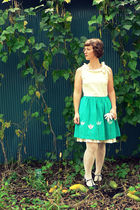 blue Nick & Mo dress - white Silversrk skirt - white Target tights - blue Mia sh